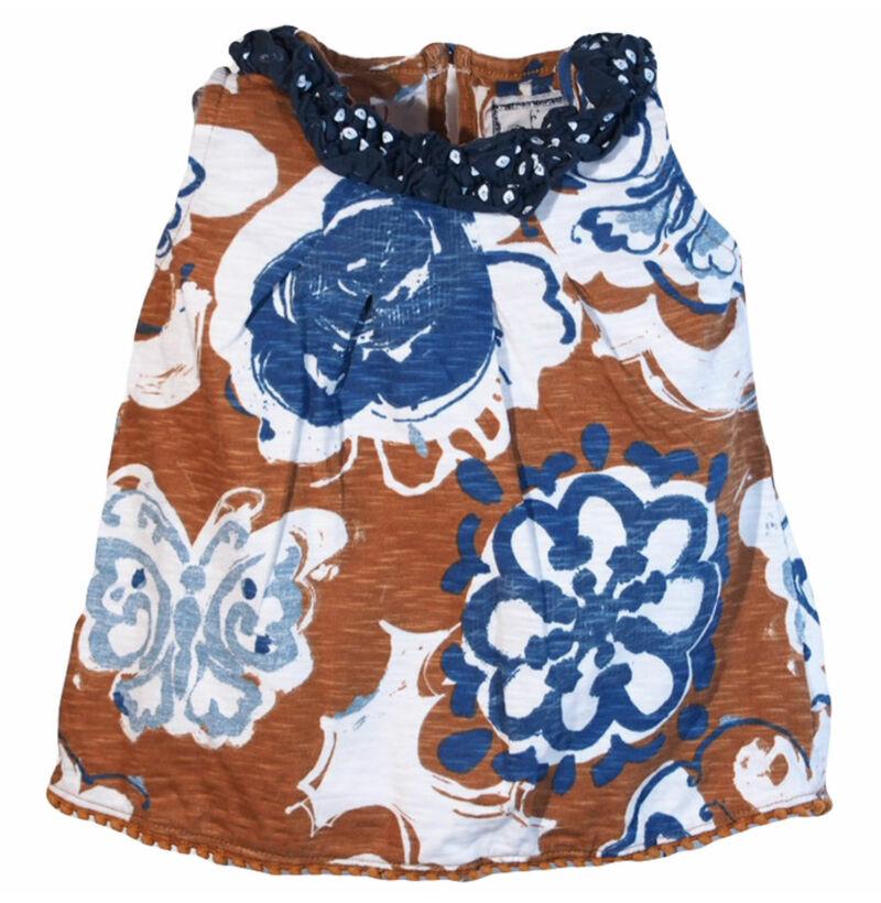 Barna virágos ruha (68-74)