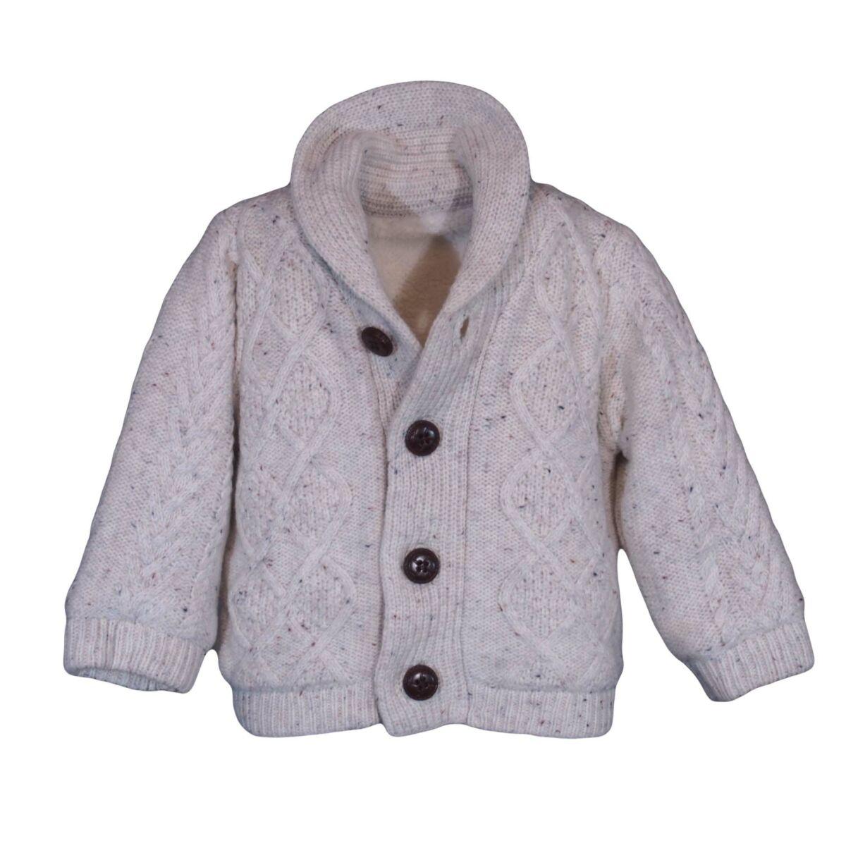 3295bb9222 Bézs kötött bélelt vastag pulcsi/kabát (1- 1,5 év)