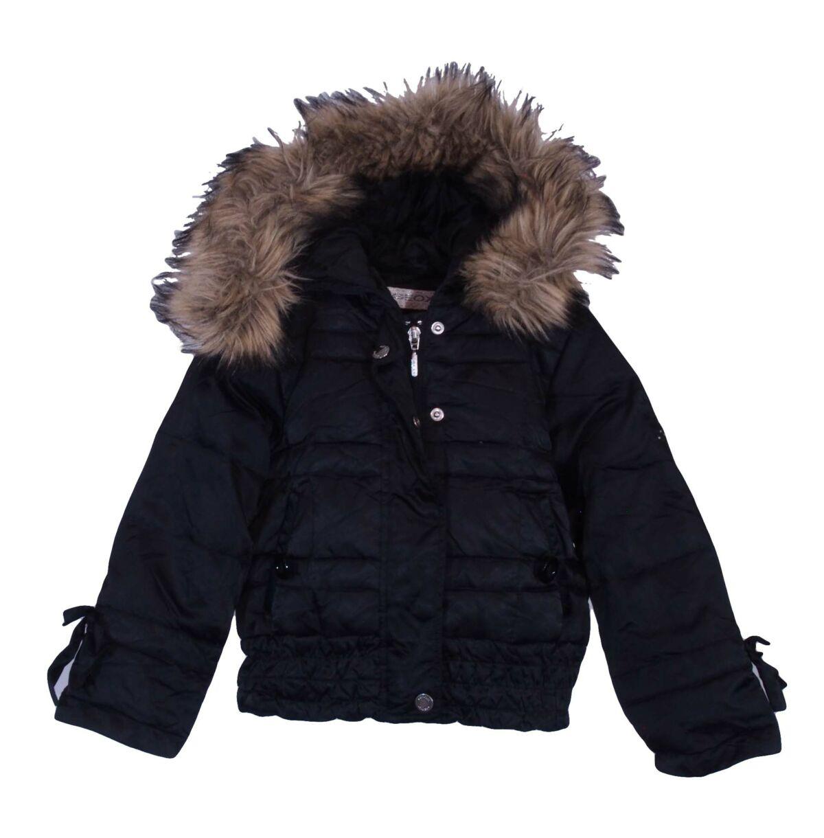 dbd50465ac használt gyerekruha · Fekete szőrmekapucnis középvastag kabát (2-3 év)
