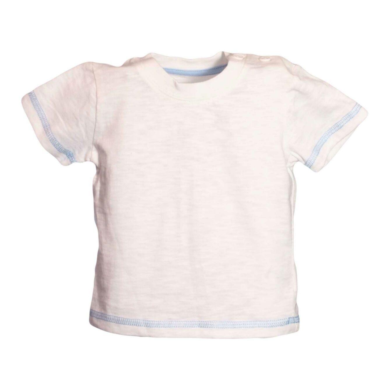 Kék varrásos fehér póló (56-62)