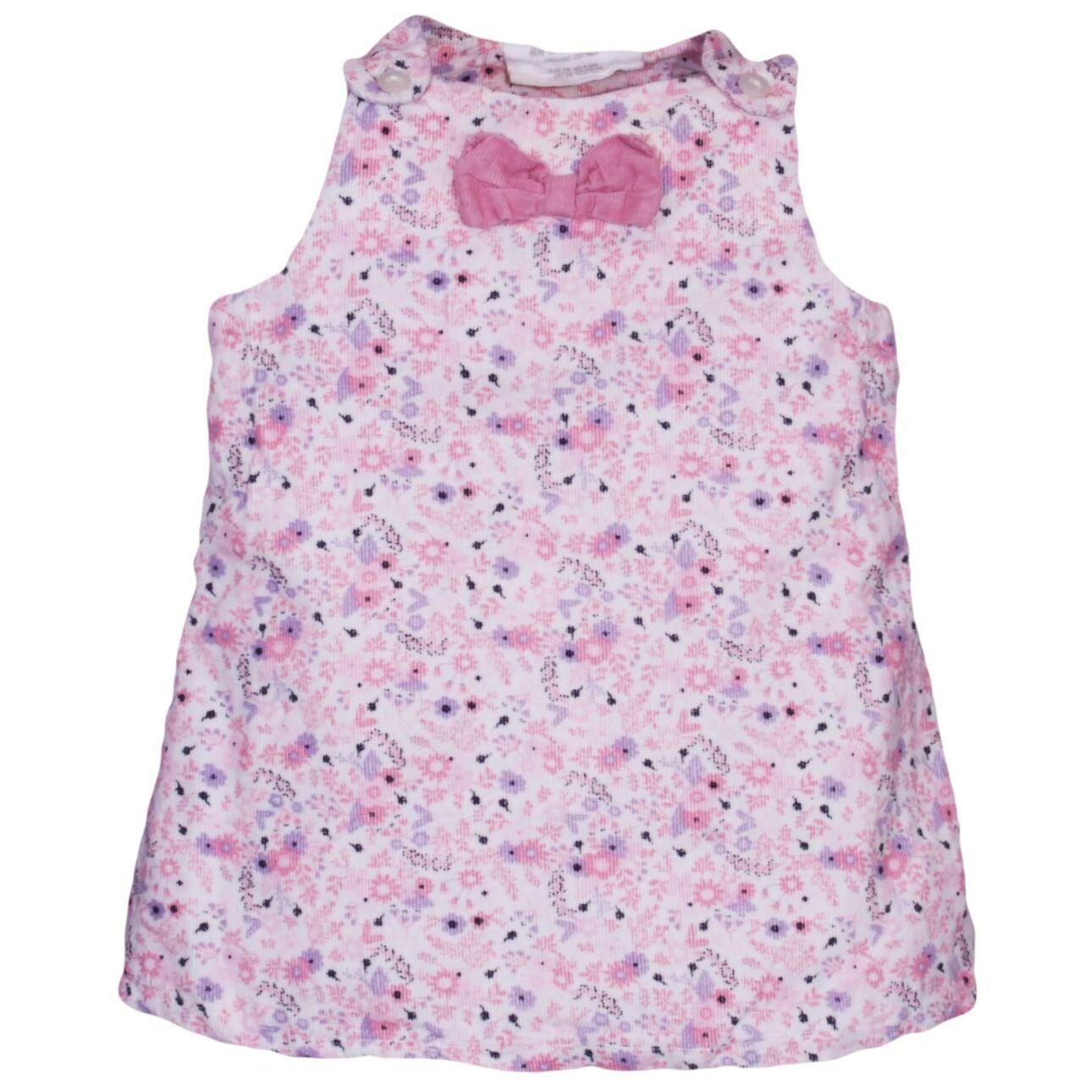 Rózsaszín apró virágmintás ruha (62-68)