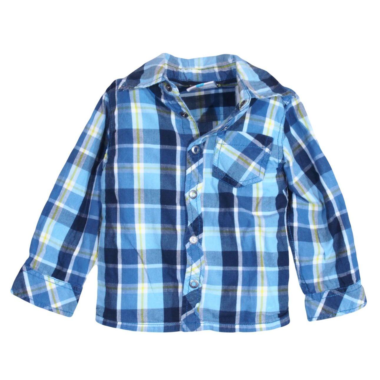 Kék kockás feliratos ing (80-86)