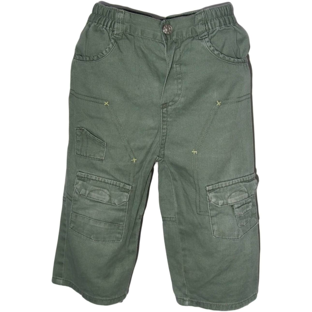 Zöld farmeranyagú nadrág (80-86)