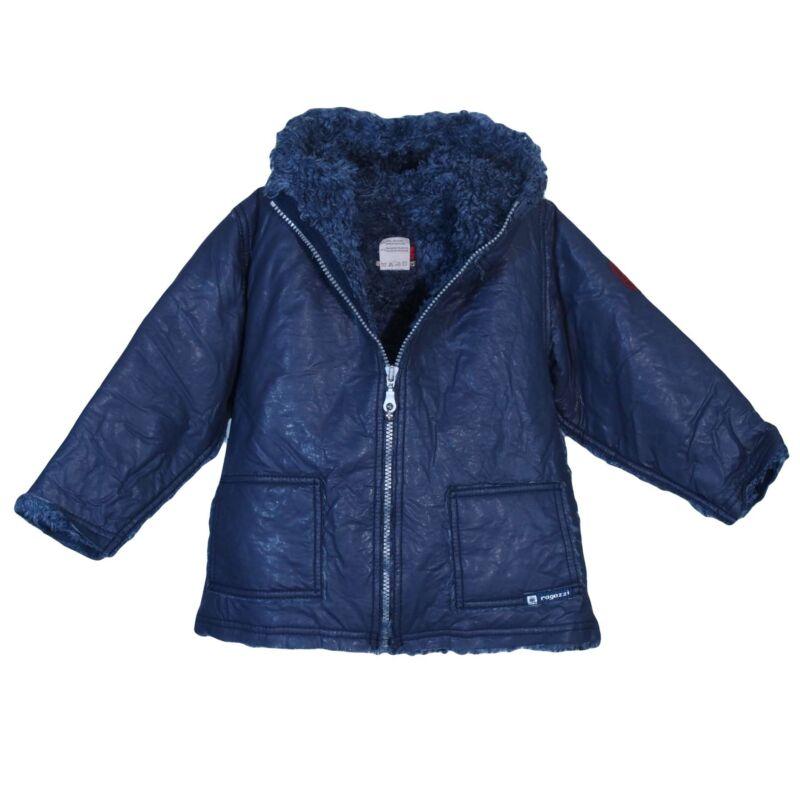 Kék kapucnis műbőr kabát (86-92)