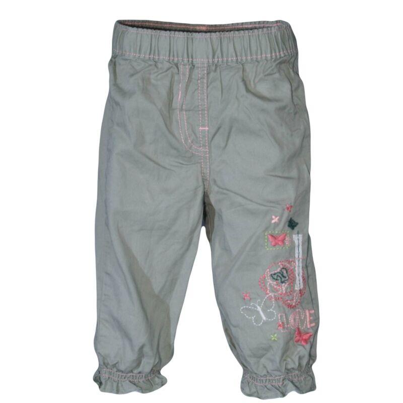 Halványzöld hímzett mintás nadrág (68-74)