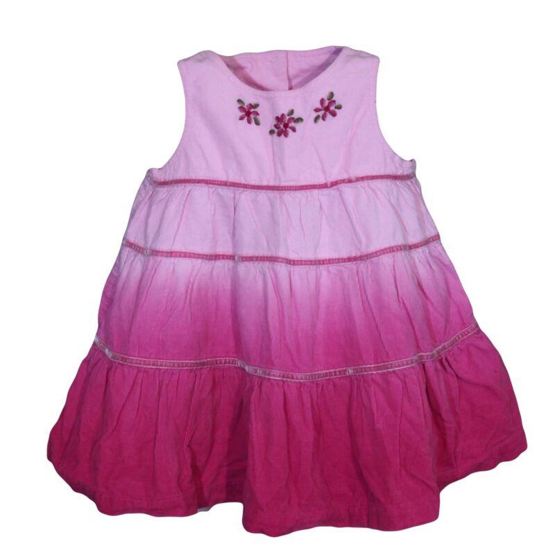Rózsaszín virágos kordruha (68-74)